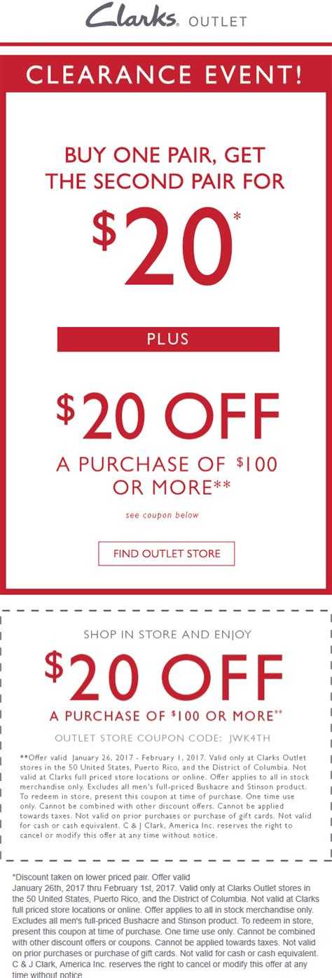 Outlet Coupons by Clarks Outlet Coupons 20 100 More At Clarks Outlet