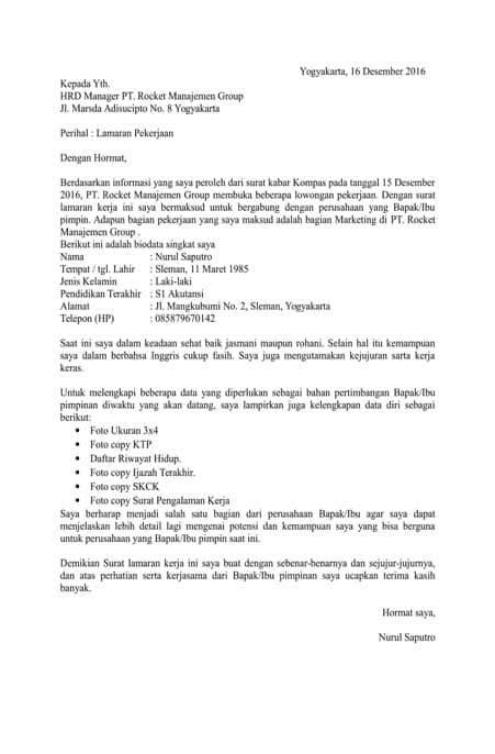 Contoh Cover Surat Lamaran Kerja by 7 Contoh Surat Lamaran Kerja Resume Dreambegins