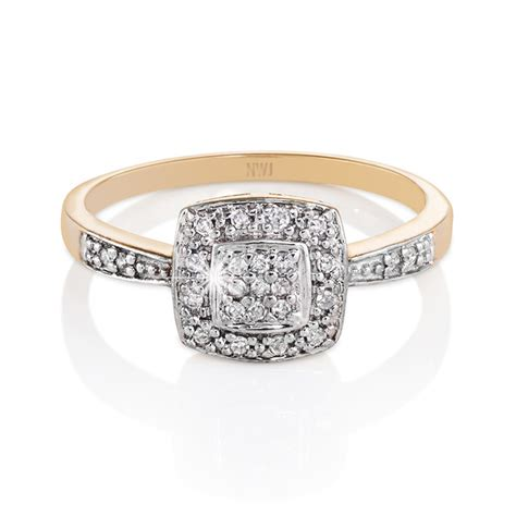 Engagements : 9ct Gold Diamond Dress Ring