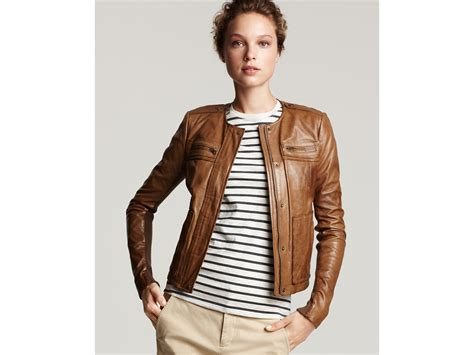 leather jacket with knit sleeves vince knit sleeve leather jacket in brown peat lyst