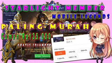 codashop mobile legends starlight member starlight member mobile legends paling murah youtube