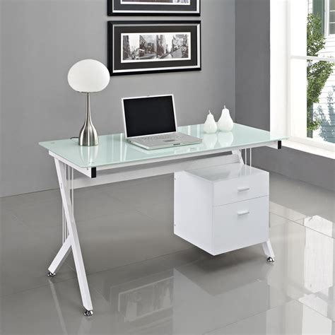 white glass computer desk pc table home office - White Glass Office Desk