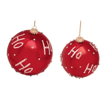 walmart ornaments pack pack of 6 quot ho ho ho quot shiny glass ornaments 3 quot 4 quot walmart