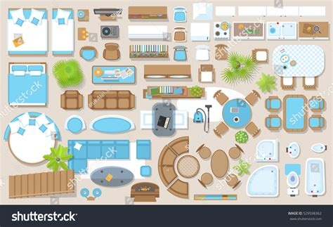 Bedside Cabinet icons set interior top view isolated stock vector
