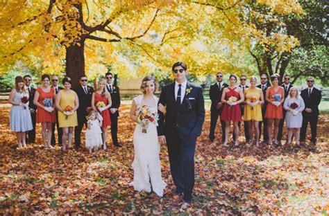 Wedding Falls Out Of Car by Autumn Woodland Wedding Natalie Green Wedding