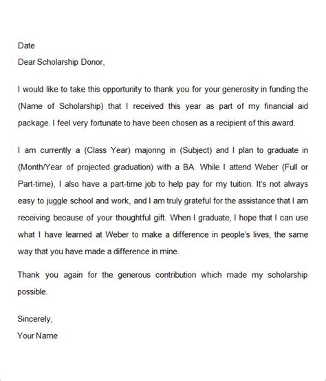 Thank You Note After Receiving Scholarship Scholarship Thank You Letter 11 Documents In Pdf Word