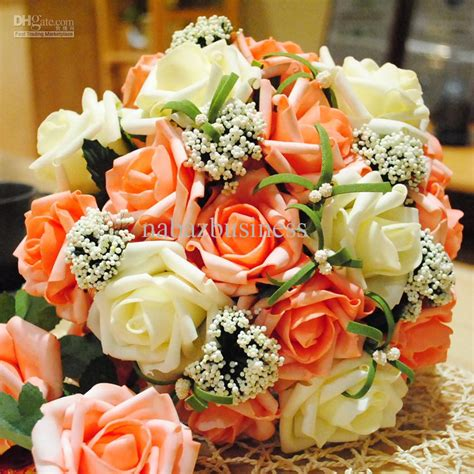 Wedding Centerpieces With Artificial Orange And White Silk Flower Wedding Centerpieces