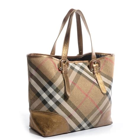 Burberry Byron Tote by Burberry Shimmer Check Byron Tote Gold 71684