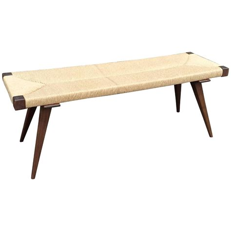 mid century bench mid century modern woven rush bench at 1stdibs