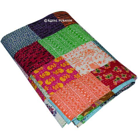 Kantha Patchwork Quilt - size patchwork bohemian kantha quilt blanket bedding