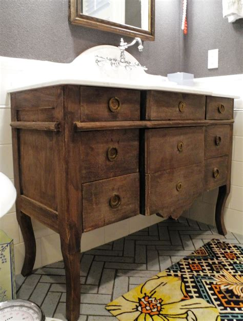 using dresser as bathroom vanity repurposed dresser into bathroom vanity attic bathroom