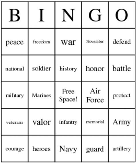 printable veterans day bingo cards veteran s day cards