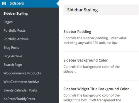 avada theme global sidebar assigning widget sections to sidebars theme fusion