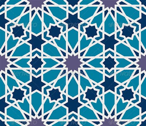 geometric pattern in blue arabesque seamless pattern in blue and grey geometric