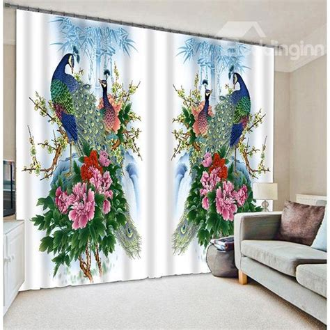 oriental drapes oriental traditional peacock with blossom printing 3d