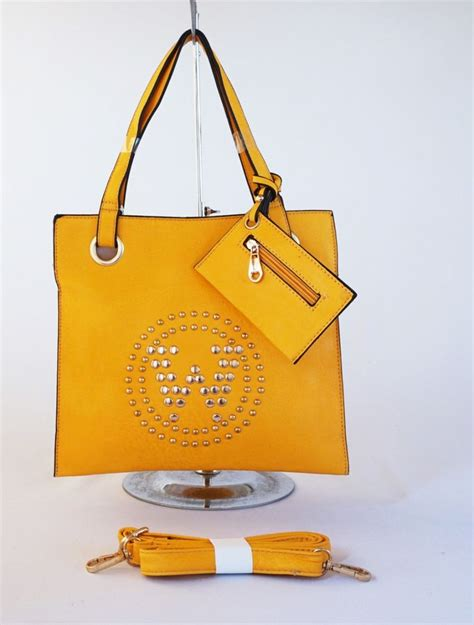 Tas Serut Bibir Studed Selempang Korea Import tas studded 3 sap trendy free pocket cantik bahan tebal bisa bahu dan selempang warna kuning