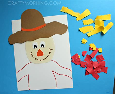 Scarecrow Paper Craft - torn paper scarecrow craft crafty morning