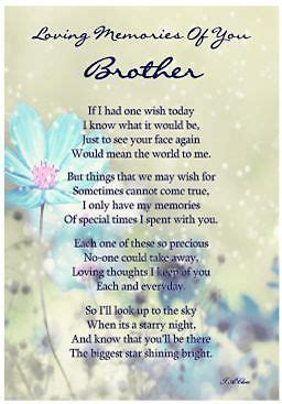 "LAMINATED MEMORIAL VERSE. ""BROTHER"" GRAVESIDE MEMORIAL"