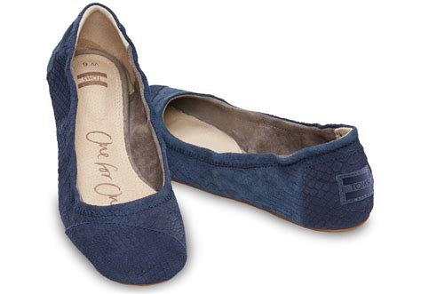 s shoes flats lyst toms blue suede snake s ballet flat in blue