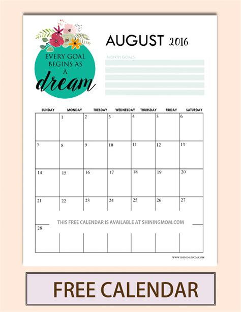 printable quote calendar 2016 pretty printable calendars for august 2016
