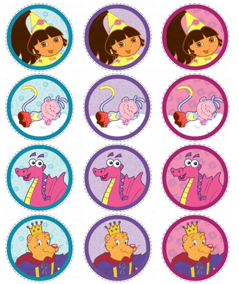 printable dora stickers dora princess free printable cupcakes toppers and wrappers