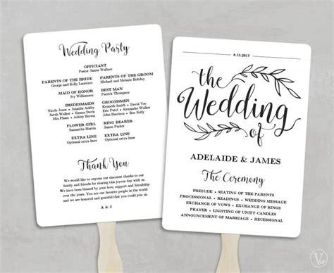 printable wedding program template fan wedding program