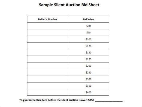 silent auction bid sheet templates creative template