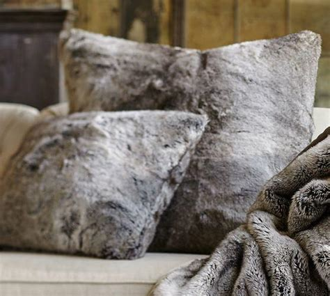 faux fur pillow cover gray ombre from pottery barn pillows