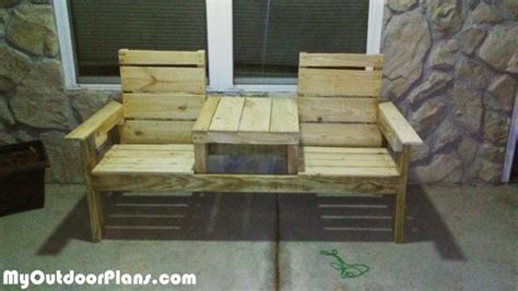 diy pallet double chair bench myoutdoorplans