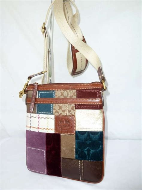 Coach Patchwork Crossbody - authentic coach signature multicolored patchwork swingpack