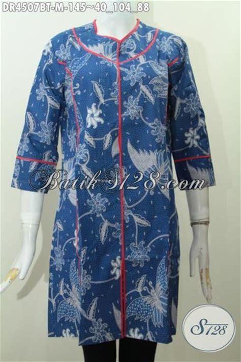 Cantik Brisk Dr Blouse Wanita Spandek Biru Dan Pink Bagussss baju dress batik biru kwalitas bagus motif unik kombinasi tulis pakaian batik wanita model
