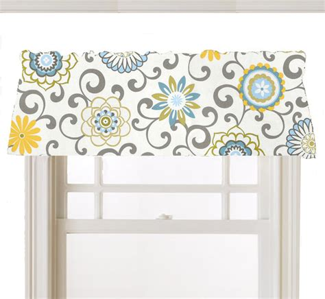 yellow kitchen valances window topper valance mod flowers gray white yellow