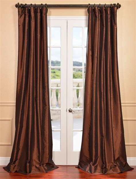 copper curtains copper brown faux silk taffeta curtain contemporary