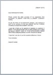 Letter Of Resignation Uk by Resignation Letter Template Jobfox Co Uk