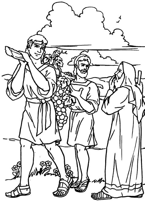 Coloring Page 12 Spies by Joshua And Caleb And The Twelve Spies Free Coloring Pages