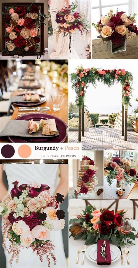 colour themes peach top 8 burgundy wedding color palettes you ll love