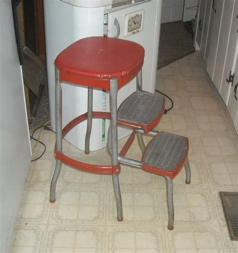 Cosco Folding Stool by Vintage Cosco Kitchen Folding Step Stool With Bo Back