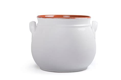 Handmade Terracotta Pots - handmade rounded terracotta pot with lid white 15 cm