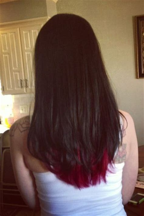 brown with red underneath hair dark brown with bright red underneath so pretty and edgy
