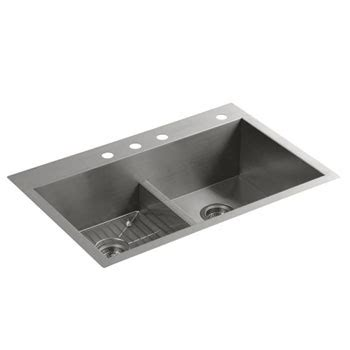 kohler vault smart divide sink kohler k 3838 4 na vault smart divide equal sink