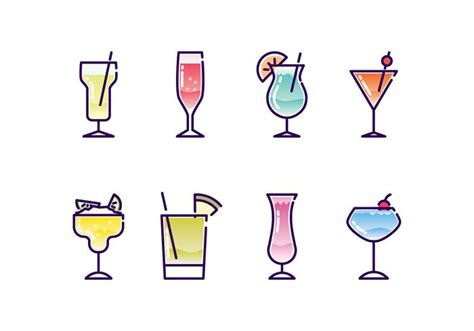 cocktail icon vector cocktails icon set free vector stock