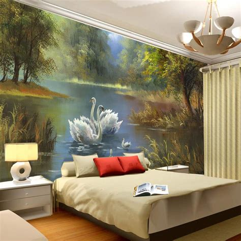 what paint to use for wall murals swan lake wallpaper 3d photo wallpaper custom wall