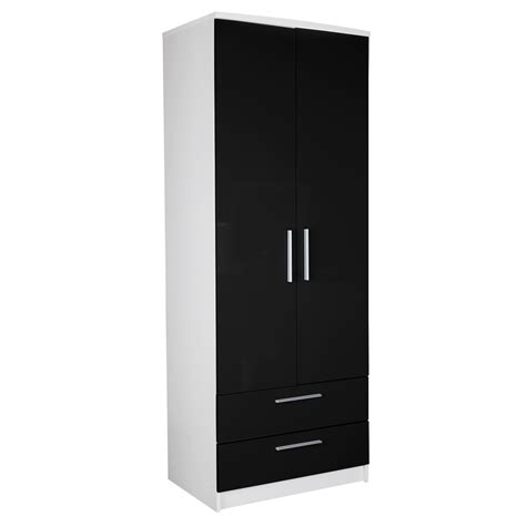 besta 192x60x40 black and white wardrobe berlin 6 door corner