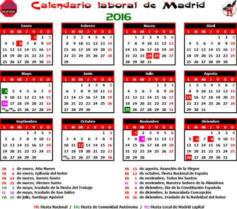 gatos sindicales mad calendario laboral 2016 madrid
