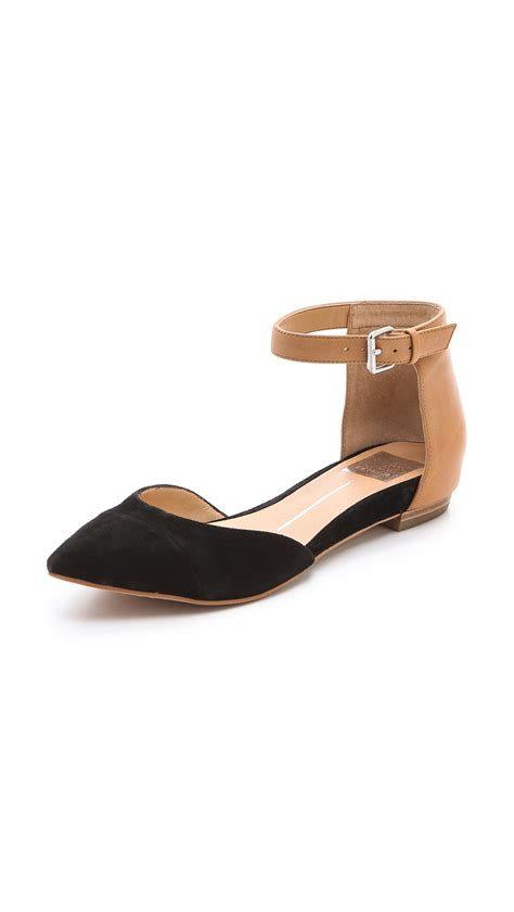 dolce vita shoes dolce vita gav dorsay flats with ankle in black lyst