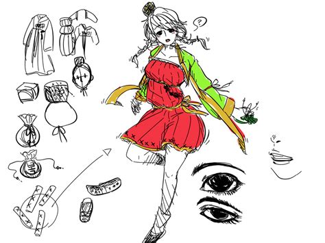 doodle korea doodle hanbok korean traditional clothes by handarim on