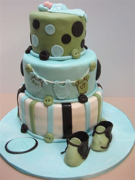 Green Baby Shower Cake by Blue Brown And Green Baby Shower Cake Cakecentral