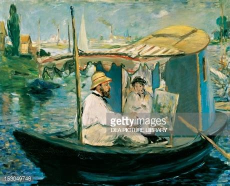 manet monet in his studio boat claude monet painting on his boat 1874 by edouard manet