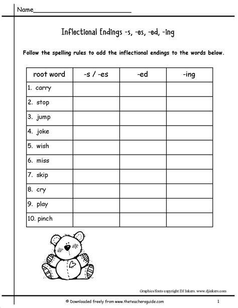 inflected endings worksheets for 2nd grade wonders second grade unit four week two printouts