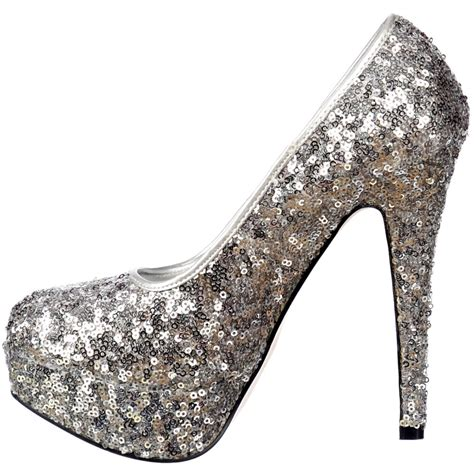 sparkly silver high heels shoekandi silver sparkly sequin high heel platform